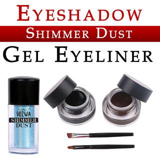 Vozwa Blue Eyeshadow Shining Shimmer Dust and Music Flower Gel Eyeliner (Black Brown)