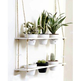 VAH Wood Hanging Planter Shelf Plant Hanger Decorative Flower Pot Rack with Rope Home Decor Hanging Planter-Plant Stand