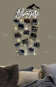 VAH White Advanture Hanging Photo Display Picture Frame Collage Picture Display Organizer with Wood Clips and LED Light
