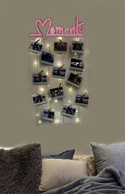 VAH Pink Moment Hanging Photo Display Picture Frame Collage Picture Display Organizer with Wood Clips and LED Light for