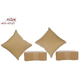 Auto Addict Combo Car Neck Rest and Pillow set of 4 Pcs Beige Color For Maruti Suzuki Alto K10