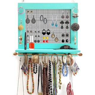 VAH Jewelry Organizer with Bracelet Rod Wall Mounted l Wooden Wall Mount Holder for Earrings, Necklaces, Bracelets, and