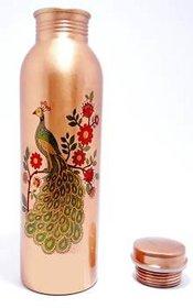 Clickmart Pure Copper Bottle 1000 ML Peacock Design