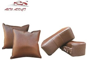 Auto Addict Combo Car Neck Rest and Pillow set of 4 Pcs Brown Color For Tata Sumo