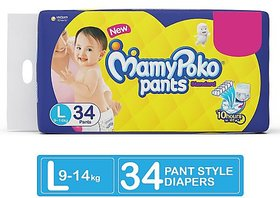 Mamy Poko Pants Standard Diapers, Large (Pack of 34)