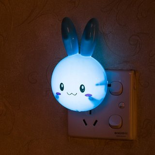 Skylofts Rabbit LED Night Lamp Plug in Lamp Wall Socket Night Light Home Decoration (Blue)