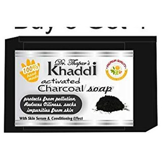 Khadi Charcoal Glycerin Soap (Premium Brand) By Dr. Thapar (125 Grams Each)