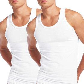 Zotic Men's White Cotton Vest - Pack Of 2