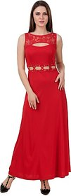 Texco Red Plain Maxi Dress For Women