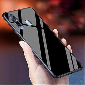 GADGETWORLD Luxury Glass Case Cover for Vivo Y15  (Black)
