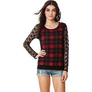 Texco Party Full Sleeve Lace, Checkered Women Red, Black Top