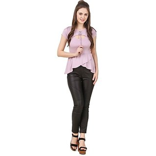 Texco Party Short Sleeve Solid Women Purple Top