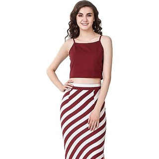Texco Casual Shoulder Strap Solid Women Maroon Top