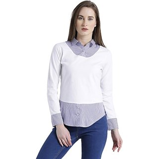 Texco Casual Full Sleeve Striped Women White Top