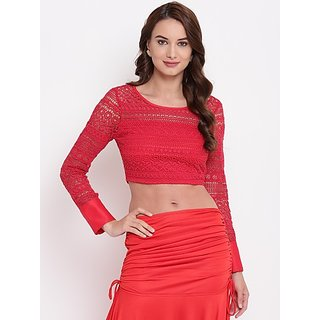 Texco Party Cuffed Sleeve Self Design Women Red Top