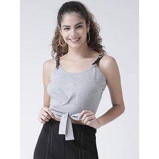 Texco Casual No Sleeve Self Design Women Grey Top