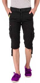 Hootry Men's Regular Fit Black Capri