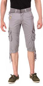 Hootry Men's Regular Fit Grey Capri