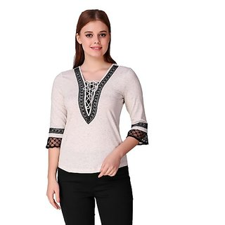 Texco Casual Bell Sleeve Embroidered Women White Top