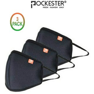 Pockester Reusable Mask Particulate Respirator ( Pack Of 3 )