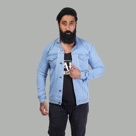 Hootry Men's Regular Fit Light Blue Denim Jacket