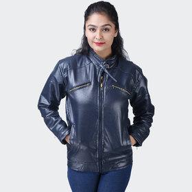 Hoootry Women's Regular Fit Navy Pu Jackets