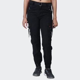 Hoootry Women's Slim Fit Black Cargo
