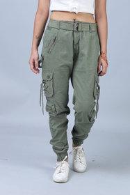 Hoootry Women's Slim Fit Green Cargo