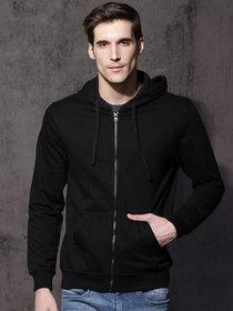 Hootry Men's Regular Fit Black Hooded