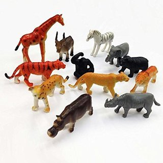 Pack Of 12 Zoomin Jungle Animals Figure Toys For Boys