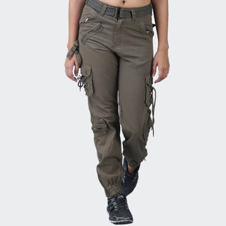 Hoootry Women's Slim Fit tan Cargo
