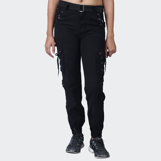 Hoootry Women's Slim Fit Black Cargo