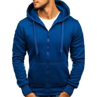 Hootry Men's Regular Fit Royal Blue Hooded
