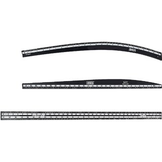 Vardhman Fashion Designing Tailoring Hard Plastic Scale with Arm Curve, Hip Curve and Long Ruler, Set of 3 Scales