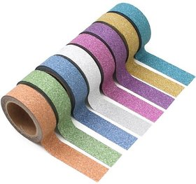Colourful Decorative Adhesive Glitter Tape Pack of 1 (3M Assorted Color 10 Pieces) for Art  Craft Purpose.....