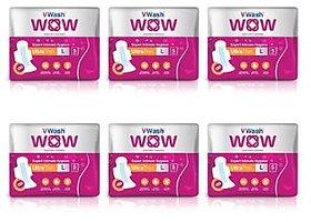 Vwash WOW Ultra-Thin Napkin L 5 30 Sanitary Pad 5pads x 6pkt (Combo)