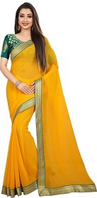 Anand Sarees Women's Yellow Self Design Chiffon Saree With Blouse
