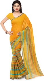 Anand Sarees Women's Yellow Striped Georgette Saree With Blouse