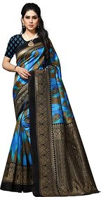 Anand Sarees Women's Blue Paisley Silk Saree With Blouse