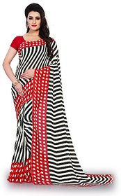 Anand Sarees Women's White Striped Georgette Saree With Blouse