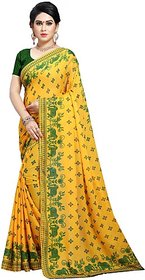 Anand Sarees Women's Yellow Printed Georgette Saree With Blouse