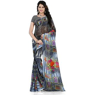 Anand Sarees Women's Multicolor Printed Georgette Saree With Blouse