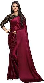 Anand Sarees Womens Maroon Plain Satin Saree With Blouse