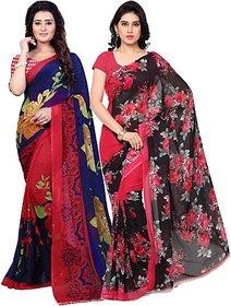 Anand Sarees Women's Multicolor Floral Georgette Saree With Blouse (Pack of 2)