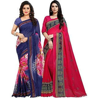 Anand Sarees Women's Multicolor Printed Georgette Saree With Blouse (Pack of 2)