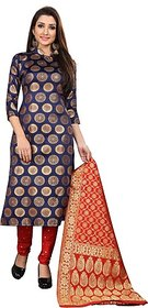 Anand Sarees Women's Blue Woven Design Jacquard Unstitched Salwar Suit Material