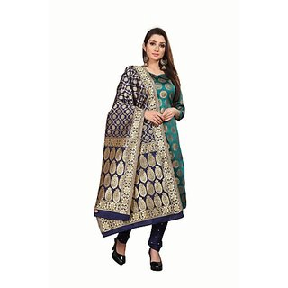 Anand Sarees Women's Green Woven Design Jacquard Unstitched Salwar Suit Material