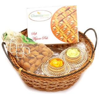 Medium Cane Basket Basket with Mysore Pak, Almonds Pouch with 2 T- Lites