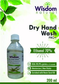Wisdom Dry Hand Wash / Handsanitizer Enriched with Neem Seed Oil- 200 ml (Pack of 2)