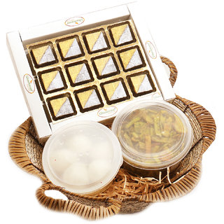 Gold Cane Finish Basket of Sheen Chocolates Box, Rasgulla and Palak Chips